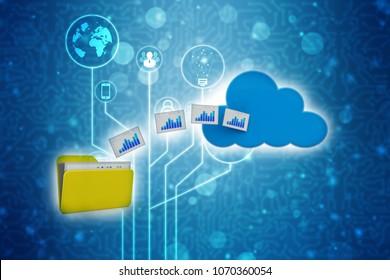 3d rendering Cloud computing concept, cloud storage concep