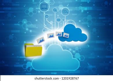 3d rendering Cloud computing concept, cloud storage concept