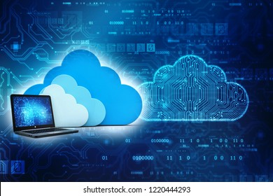 3d rendering Cloud computing concept, Cloud With Computer In technology background