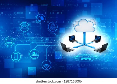 3d rendering Cloud computing concept, Cloud Network and internet connection