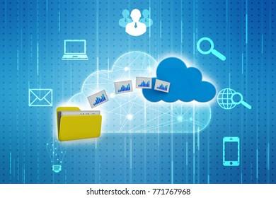 3d rendering Cloud computing concept, cloud storage concept.