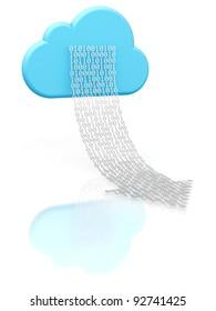 3D rendering of a cloud shape and a digital arrow illustrating cloud computing