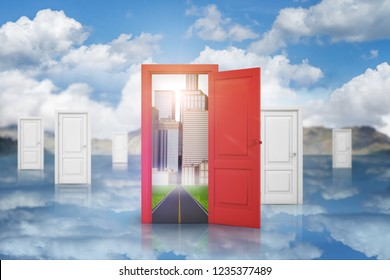 3d rendering of a cloudy space with many identical white doors and a single red door leading to a business district. Business and work. Personal development. Door to future.