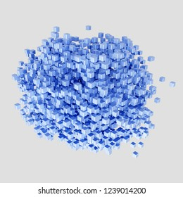 3d rendering of cluster built by reflecting blue metal cubes,isolated