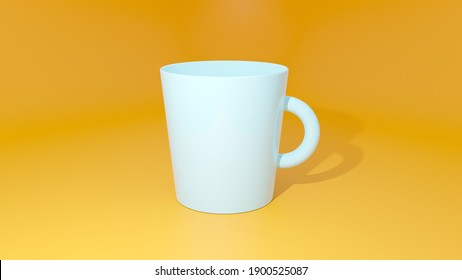 3D rendering of coffee mug on yellow background