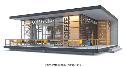 Delightful 3d Rendering Of A Coffee Shop On White Background.