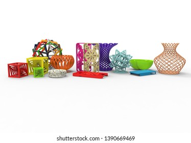 3D rendering of collection of colored complex typical 3D print products demonstrating the possibilities of 3d printing on a white background