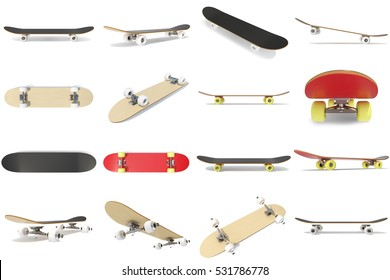 3d rendering collection, group, set of skateboards isolated on white bakcgorund. Photorealistic skateboard template.