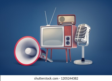 3d rendering of collection of several pieces of vintage equipment: a TV, a radio set, a microphone and a megaphone. Telecom equipment. Old school electronics. Retro audio-video equipment.