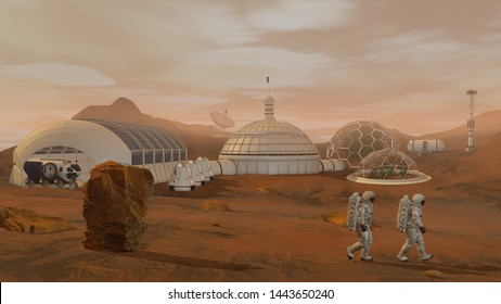 3D rendering. Colony on Mars. Two Astronauts Wearing Space Suit Walking On The Surface Of Mars.