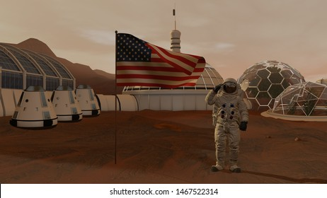 3D rendering. Colony on Mars. Astronaut saluting the American flag. Exploring Mission To Mars. Futuristic Colonization and Space Exploration Concept.