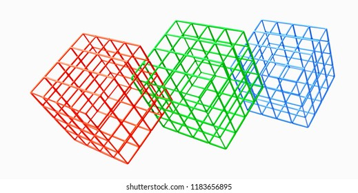 3D rendering of colored metal cages isolated on white