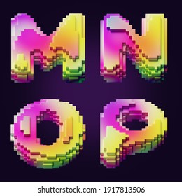 3d rendering of colorful letters made of cube blocks.