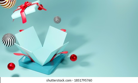 3d rendering of colorful Opened realistic gift box on blue background. Round platform. Modern simple minimal style.
