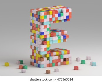 3d rendering of colorful pixeleted alphabet on white background. Fun handmade lettering. Voxels font, 8 bit style type. Cubic 3d, pixel art. Uppercase letter E