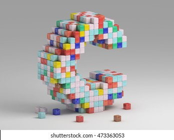 3d rendering of colorful pixeleted alphabet on white background. Fun handmade lettering. Voxels font, 8 bit style type. Cubic 3d, pixel art. Uppercase letter C