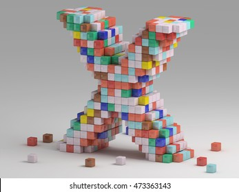 3d rendering of colorful pixeleted alphabet on white background. Fun handmade lettering. Voxels font, 8 bit style type. Cubic 3d, pixel art. Uppercase letter X