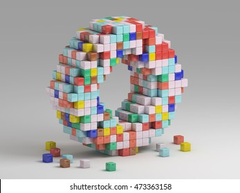 3d rendering of colorful pixeleted alphabet on white background. Fun handmade lettering. Voxels font, 8 bit style type. Cubic 3d, pixel art. Uppercase letter O