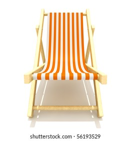 3d rendering of colorful wooden deck chairs with stripe pattern fabric isolated on white