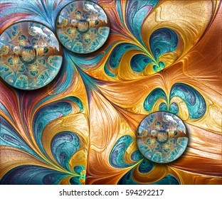 3D rendering combo artwork with fractal on leather and fractal buttons