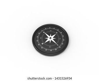 3d rendering of a compass north west south east isolated in white background