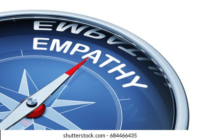 3D rendering of a compass with the word empathy