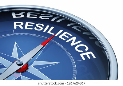 3D rendering of an compass with the word resilience