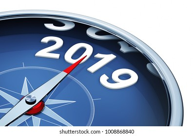 3D rendering of an compass with the year 2019