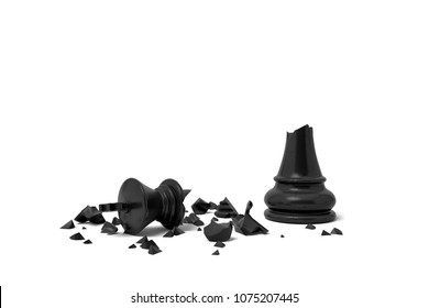 3d rendering of a completely broken black chess king lies in rubble on a white background. Loss and failure. Board games. Checkmate.