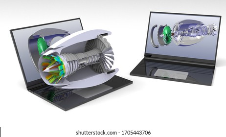 3D rendering - computer aided design of a plane turbine motor