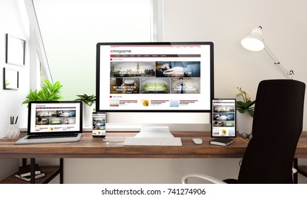 3d rendering of computer, notebook, tablet and smartphone showing e-magazine website
