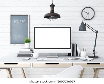 3d rendering of computer on table