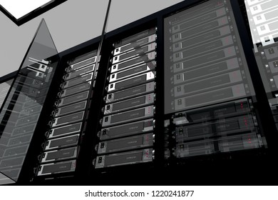 3D rendering of a computer server array housed in racks and in a glass cabinet with the door open