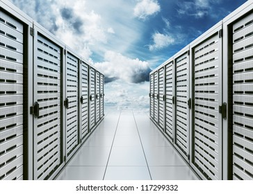 "3d rendering of computer server in the clouds symbolizing ""cloud computing"""