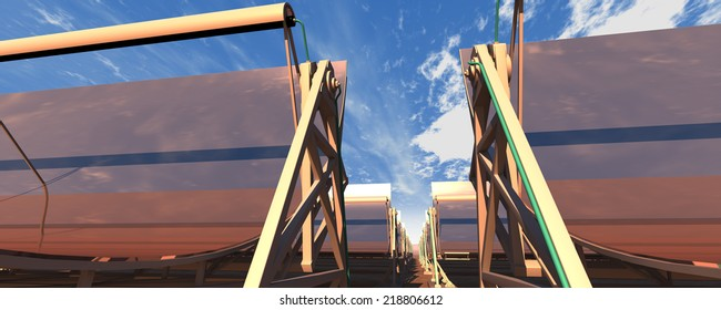 3D rendering of concentrated solar power (CSP) panels in the desert, low camera angle, with a reflected sky. Panoramic/wide image format.