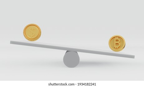 "3D Rendering concept of cryptocurrency: a balance and a coins with ""B"" is heavier a coin than with ""$"". 3D Render"