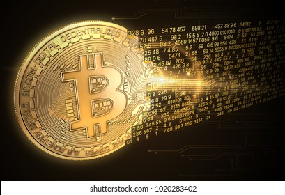 3D rendering: Concept cryptocurrency in financial world. Gold Coins Bitcoin on black background.