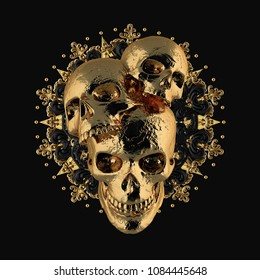 3d rendering. The concept of gold skulls on a gold ornament. Isolated black background
