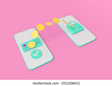 3d rendering concept illustration of online pay with phone. Image include: smartphone, big coins. Pink and blue colors.