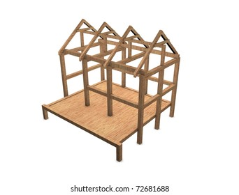3d rendering, concept image new home framework, isolated on white.