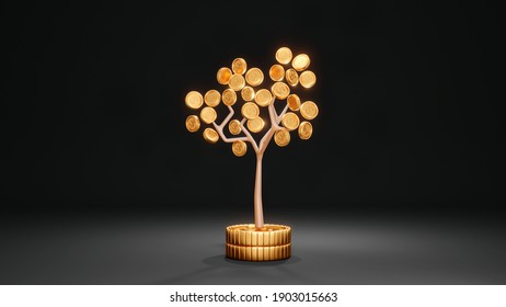 3D rendering concept of investment: a money tree on stack of coins on background. 3d render.