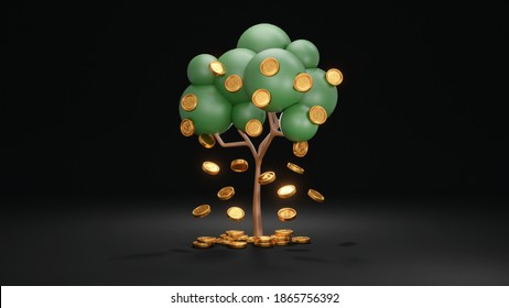 3D Rendering concept of investment. Tree with coins falling down on black background. 3D Render.