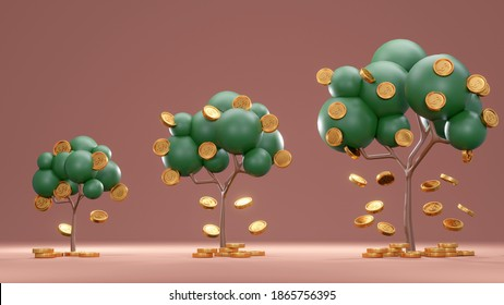3D Rendering concept of investment. Trees with coins falling down from small to big on background. 3D Render.
