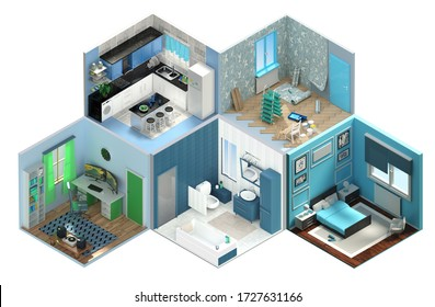 3D Rendering concept Isometric interior room.