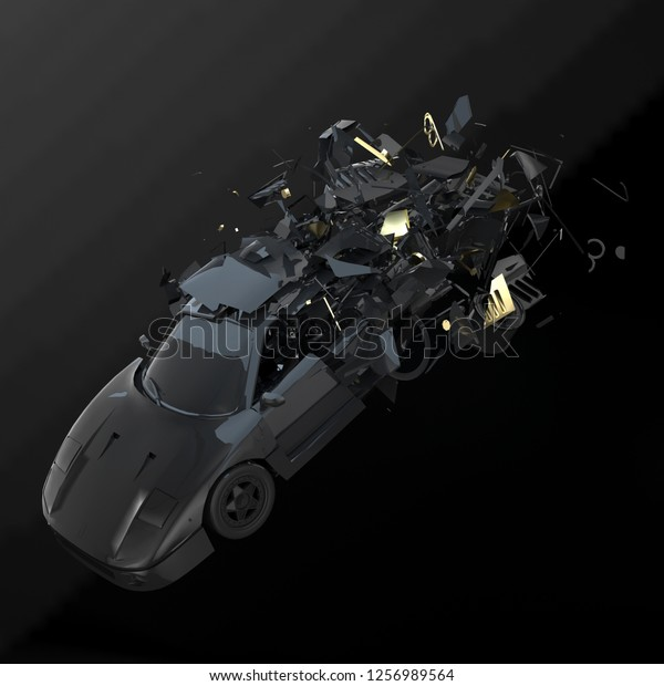 3d rendering concept picture. Crashed sports car. gold Explosion debris on black background.