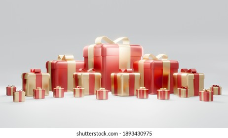 3D rendering concept of set of wrapped gift boxes for commercial design. Holiday presents. Birthday presents. Red and gold theme on white background. 3D Render.