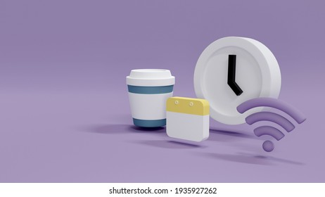 3D Rendering concept of time and money management: a clock, a Wifi internet icon, a calendar and a cup of coffee symbol on background. 3d Render.