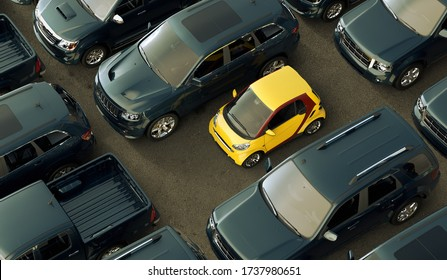 3D rendering of a conceptual image of a small eco friendly city cars contrasting with big oil consuming vehicles.