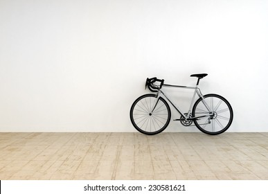 3D Rendering of Conceptual Single Mountain Bike on Empty Room Leaning on White Wall.