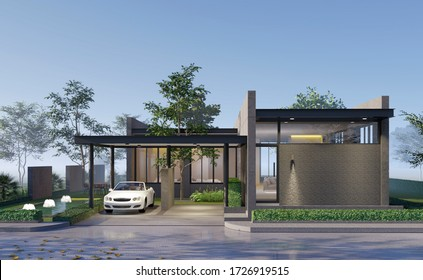 3D Rendering, Concret house at Thailnad